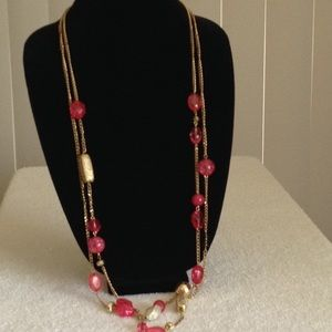 Pink & Gold Plastic Beads Necklace